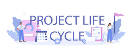 Project life cycle typographic header. Maturity stage. Successful business Иллюстрация
