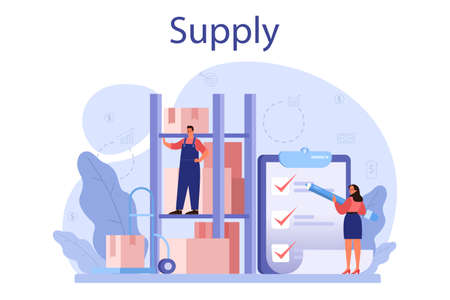 Supply concept. B2B idea, global logistic and transportation service. Vektorové ilustrace