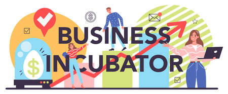 Business incubator typographic header. Business people and investors supporting