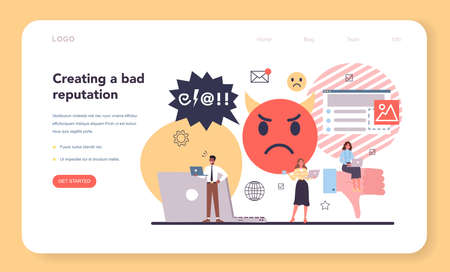Bad reputation web banner or landing page. Building relationship