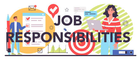 Job responsibilities typographic header. Personnel management and empolyee