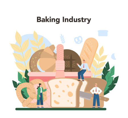 Baking industry concept. Baking pastry process. Bakery worker