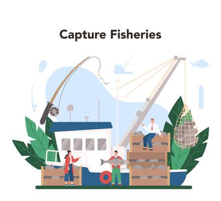 Industrial fishing concept. Capture fisheries, seafood production Vecteurs