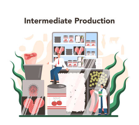 Intermediate goods industry sector of the economy. Light manufacturing 向量圖像