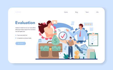 Loan manager web banner or landing page. Bank employee Vektorgrafik