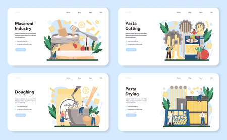 Spaghetti or pasta production industry web banner or landing page set. Stock Illustratie