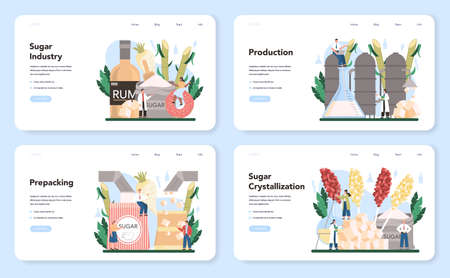 Sugar production industry web banner or landing page set. Saccharose