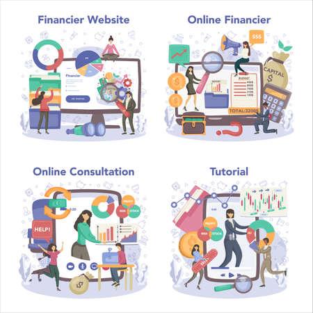 Financial advisor or financier online service or platform set.