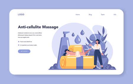 Massage and masseur web banner or landing page. LPG massage
