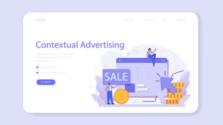 Advertsing web banner or landing page. Commercial advertisement Vector Illustratie