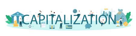 Capitalization typographic header. Appraisal of company stocks multiplied Vektoros illusztráció