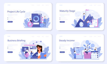 Maturity stage web banner or landing page set. Project life cycle period. Иллюстрация
