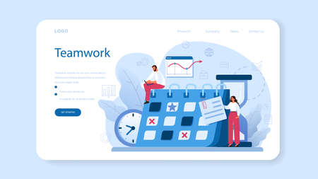 Time management web banner or landing page. Business people work Vetores