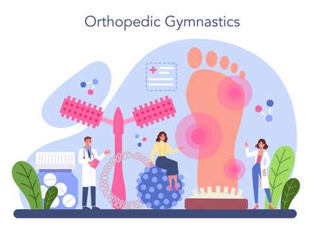 Orthopedics doctor. Orthopedic gymnastics treatment. Idea of joint