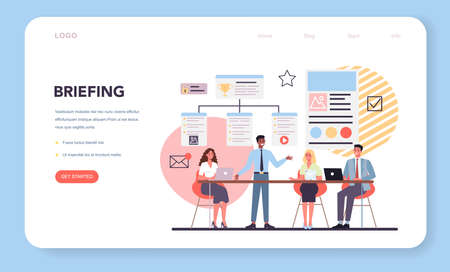 Website creation web banner or landing page. Process of website development Vector Illustration