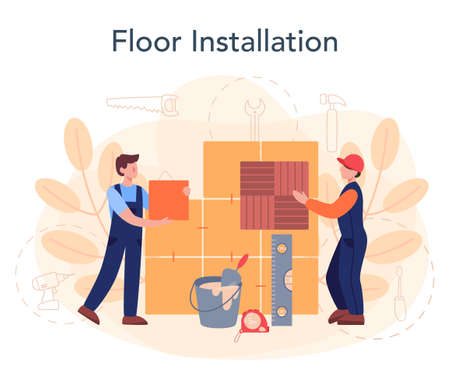 Flooring installer. Professional parquet laying, wooden or tile floor.