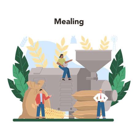 Flour melling industry. Modern grain processing industrial factory