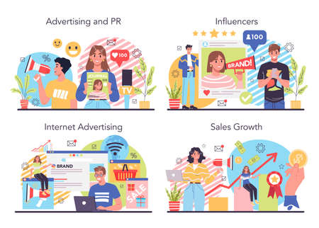 Advertising and PR concept set. Commercial advertisement and communication