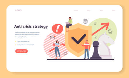 Anti crisis strategy web banner or landing page. Idea of risk control