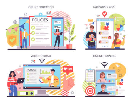 Corporate culture online service or platform set. Corporate relations