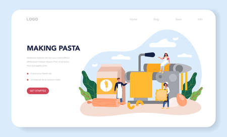 Spaghetti or pasta web banner or landing page. Italian food on the plate.