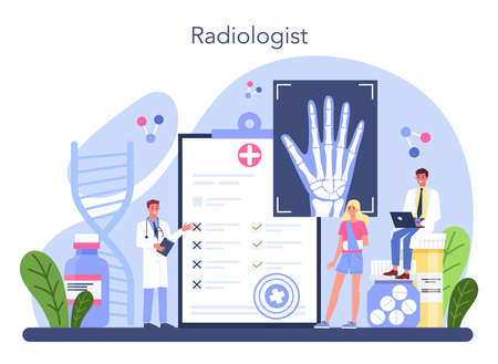 Radiology concept. Idea of health care and disease diagnosis. Ilustração