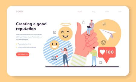 Good reputation web banner or landing page. Building relationship
