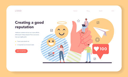 Good reputation web banner or landing page. Building relationship
