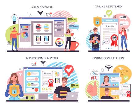 New company, trade mark registration online service or platform set Vector Illustration