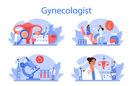 Gynecologist, reproductologist and women health concept set. Human anatomy, Vectores