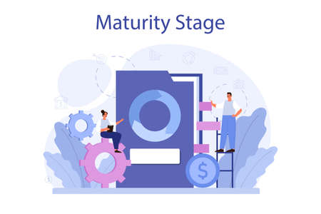 Maturity stage concept. Project life cycle period. Successful business