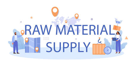 Raw material supply typographic header. Suppliers, B2B idea, global distribution Vecteurs