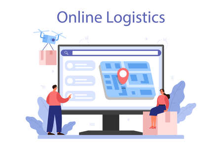 Supply online service or platform. B2B idea, global logistic