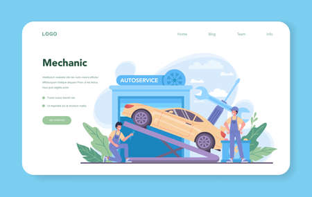 Car service web banner or landing page. People repair car