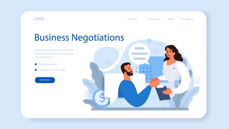 Business negotiations web banner or landing page. Business planning