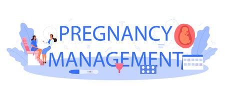 Pregnancy management typographic header. Women health examination.
