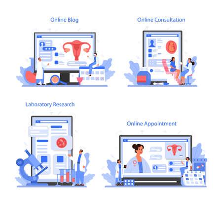 Gynecologist online service or platform set. Women health examination
