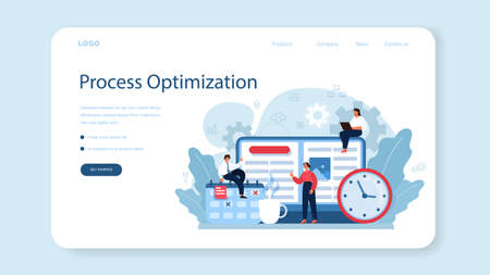 Process optimization web banner or landing page. Idea of business Vetores