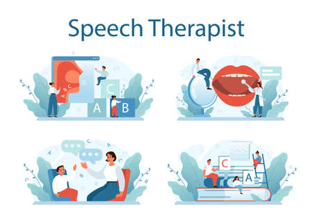 Speech therapist concept set. Didactic correction and treatment idea.
