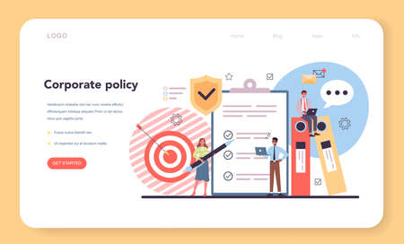 Corporate policy web banner or landing page. Business ethics idea.