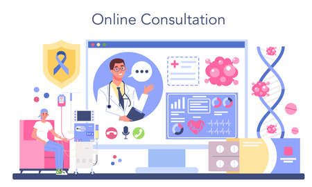 Professional oncologist online service or platform. Cancer disease Vettoriali