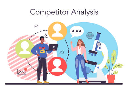 Start up running concept. Competitor search and analysis. Market research