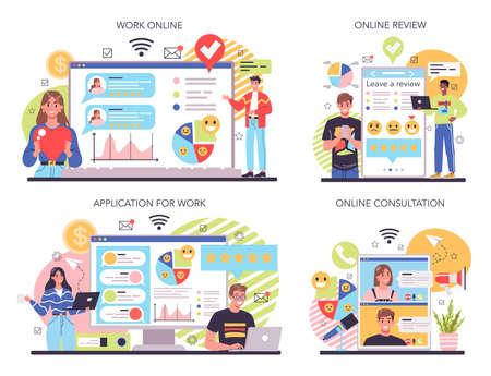 Company reputation online service or platform set. Building relationship