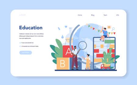 Kindergartener web banner or landing page. Professional nany Vector Illustration