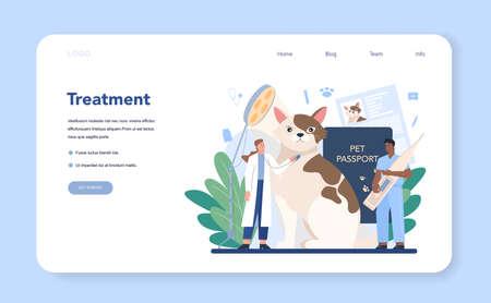 Pet veterinarian web banner or landing page. Veterinary doctor