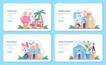 Pension fund web banner or landing page set. Saving money for retirement