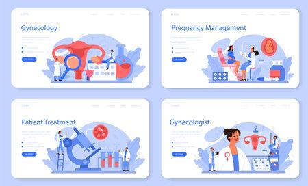 Gynecologist web banner or landing page set. Women health. Human anatomy,