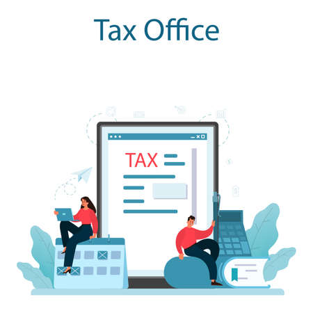 Taxes payment online service or platform. Idea of business accounting