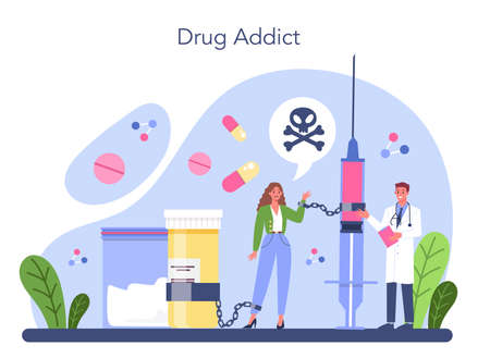 Addiction concept. Idea of medical treatment for addicted people.