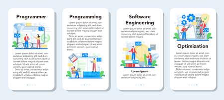Programmer mobile application banner set. Idea of coding, testing 矢量图片